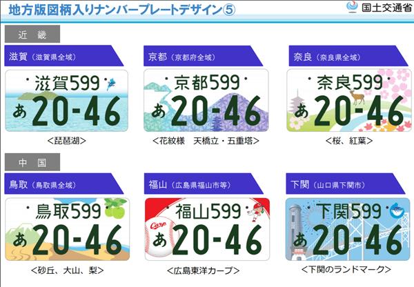 図柄入りナンバープレート【近畿・中国地方】