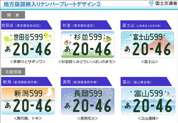図柄入りナンバープレート【関東・北信越地方】
